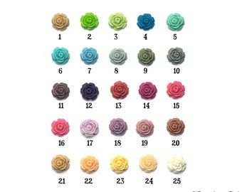 10mm Set of 6 Open Full Bloom Resin Rose Cabochons PERFECT for Petite Earrings Bobbies Bobby Pins Matte Finish 25 Color Options
