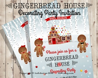 Gingerbread House decorating party invitation - Holiday Invitation - Printable digital file