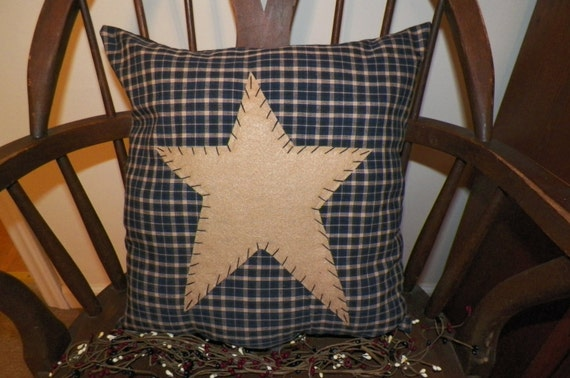 Unstuffed primitive pillow cover blue barn star prim country for Joot work