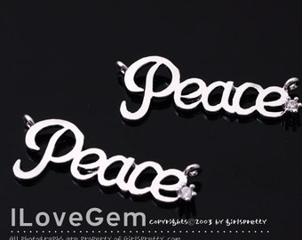 NP-1506 Rhodium plated, Peace, Pendant, 2pcs