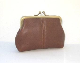 Medium Coin Purse in Chocolate Brown Geniune Leather