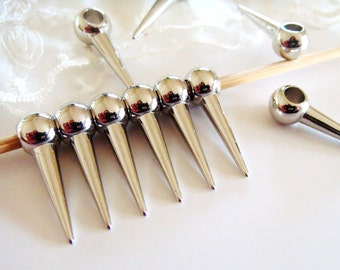 CCB Ball Loop Spike Cone Beads Silver Plated Lightweight Beads 10 x 30mm- 10 pieces