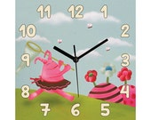 Square wall clock for girl or baby girl