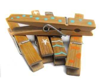 Custom Clothespin - Decorative Hand Painted Bamboo Clothes Pin Clips - Many Practical Uses - Available in any theme