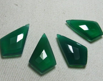 2 Matched Pairs Calibrated size 15x25 mm Long - Gorgeous Green Onyx - Faceted Fancy Tie Shape Briolettes Sparkle