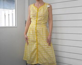 Vintage Yellow Plaid Dress Sleeveless Summer Full Skirt 60s M