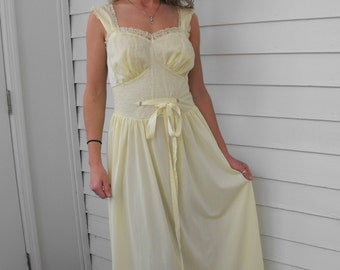 50s Artemis Gown Yellow 1950s Vintage Lingerie Sheer Lace 34 S XS