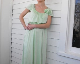 Light Green Dress Maxi Formal Mint Vintage 70s Spring S XS