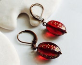Ruby Red Polka Dots Melissa Harlow Design Glass Earrings With Antique Bronze Lever-back Hooks