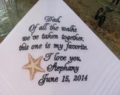 Personalized Father of the Bride machine embroidered wedding handkerchief by Sweet Sewing Jeans