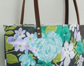 Floral and Leather Tote Bag Purse Shabby Chic