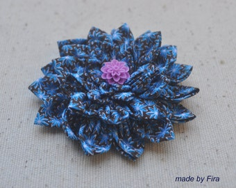 Chrysanthemum flower fabric brooch in Blue color (Ready To Ship)