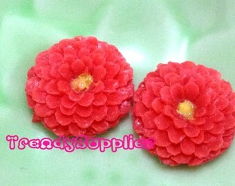 6 pcs Little Round Chrysanthemum Cabochon, Red (S007/Y)