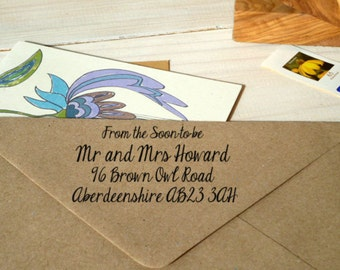 From the Soon-to-be Mr and Mrs Return Address Stamp on Olive Wood