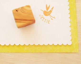 Watercolour Bird Custom Olive Wood Stamp