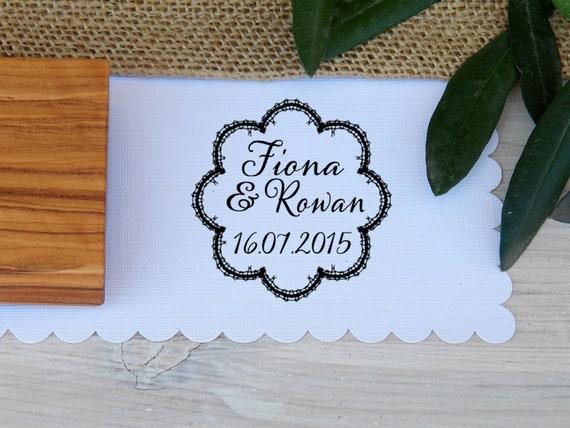 Custom Ornate Lace Trim Frame Olive Wood Stamp