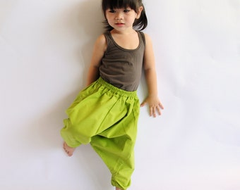 Kid's Green Cotton Harem Pants