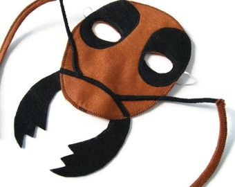 Ant Mask, Bug Mask, Woodland Animal Mask, Animal Birthday Party Favor, Child's Halloween Costume, Adult Mask, Adult Costume