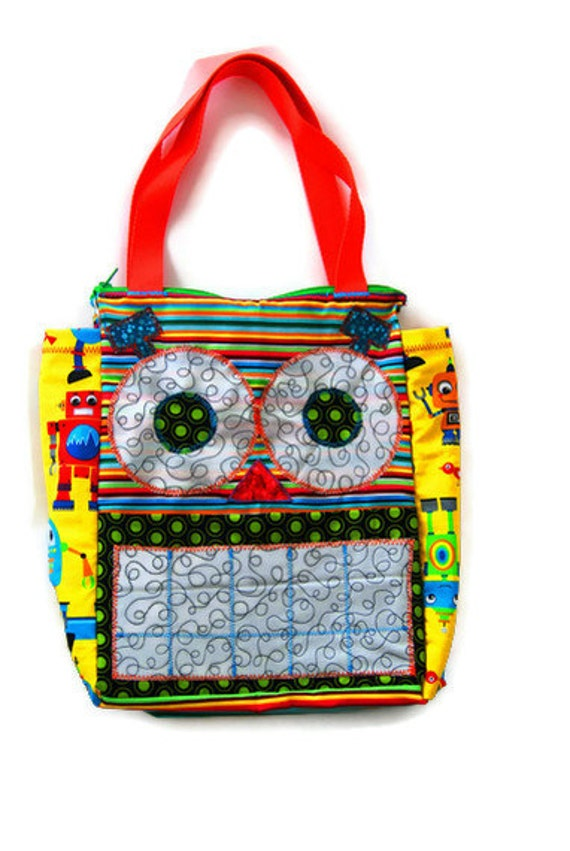 Items similar to Personalized Robot Tote Bag, Childrens