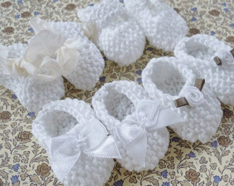Girl baby shower decorations: 4 pairs hand knit white mini booties - 2 inches bows flowers ribbons