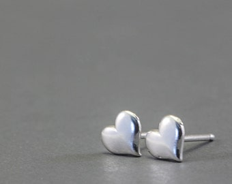 Heart Earrings, Sterling Silver Jewelry, Post Earrings, Ready to Ship