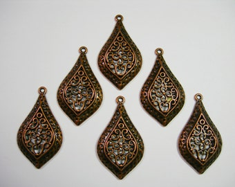 Antiqued Copper plated Filigree Drops Earring - Pendant - 46mm - 6