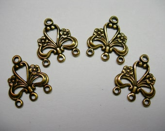 Oxidized Brass Victorian Filigree Earring Drops Chandelier Stampings