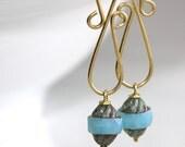 Long Blue Earrings - 'Beware of Mom'