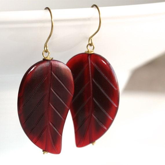 Burgundy Earrings - 'Wealthy Pauper'