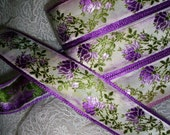 Gorgeous french ribbon trim with thistle flower, Yardage available