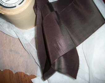 "1 yd. of Deep Dark brown french antique silk and rayon taffeta ribbon 4"" wide"