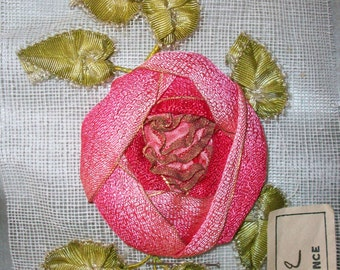 Superb french antique Ribbon work rose of ombre silk with metal edge