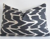 NEW - Hand Woven Silk ikat Pillow Cover Gray - lumbar Ikat Pillow cover - decorative pillow covers - throw pillows - accent pillow