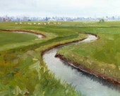 Canal Painting - Dutch Canals Painting - Original Oil Painting - Dutch Landscape -Dutch River Painting - Netherlands Canal Oil Painting