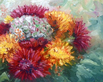 Autumn flowers original oil painting by Nancy van den Boom 11,8 x 15,5 inches