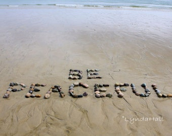 Beach Wish BE PEACEFUL Sentiment Photo 5x7 with Mat- a positive word created with natural beach stones in the sand, beach theme word photo