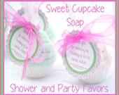 10 Mini Cupcake Soap Favors - Vegan Soap - Baby Shower Favors - Birthday Party Favors - Christening Favors - Baptism Favors