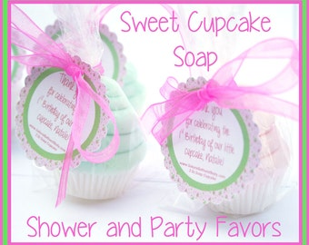 10 Mini Cupcake Soap Favors - Vegan Soap - Baby Shower Favors - Birthday Party Favors - Christening Favors - Baptism Favors