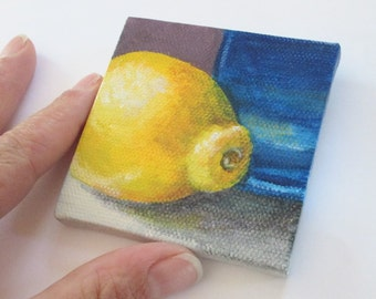 Original Mini Painting, Small Acrylic Painting, Still Life with Lemon Kitchen Art in Yellow and Blue