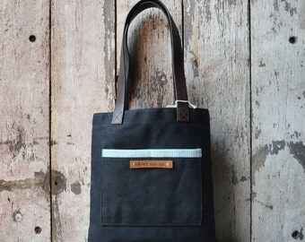 The Reader in Coal, Waxed Canvas Tote Bag, Shoulder Bag, Handbag, Purse, Book Bag, Small bag, Minimal, Book Bag, Leather, Waxed Canvas