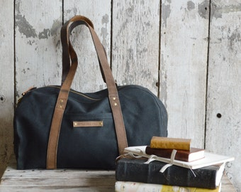 The Day Bag in Coal, Waxed Canvas Bag, Waxed Canvas Tote, Waxed Canvas Tool Bag, Waxed Canvas Duffle, Duffel, Gift for Him