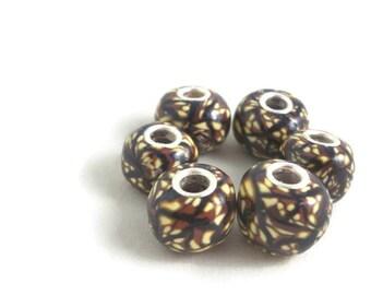 European charm bracelet beads handmade polymer brown and gold