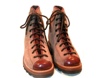 Vintage NaNa Woodsman Work Boots Vintage Brown Roughout Suede and Leather Lace To Toe Boots Woman's size 6