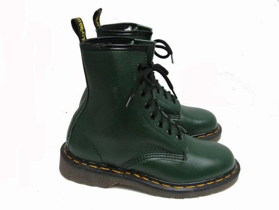 green dr martens boots vintage 1980s womens doc martens