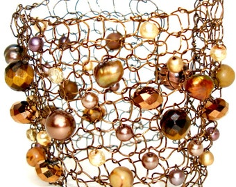 Copper Cuff Bracelet / Beaded Catseye Brown Chocolate Pearl Arm Cuff / Hand Knit Wire Statement Jewelry
