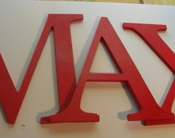 SOLID PAINTED Letters- set of four 8 inch Wooden Wall Letters -Your choice of font and color