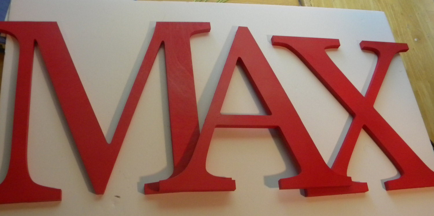 Solid painted letters set of four 8 inch wooden by for 3 inch wooden letters