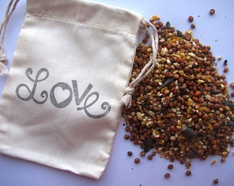 25 Bird seed filled muslin drawstring bags- hand stamped with funky Love