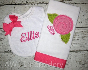 Monogrammed Bib and Burp Cloth Gift Set with Hot Pink and Green Flower - Baby Girl Gift Set
