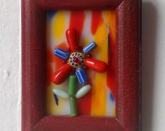 Miniature Bead Flower Mosaic on Stained Glass, Nursery Wall Decor, Bead Art
